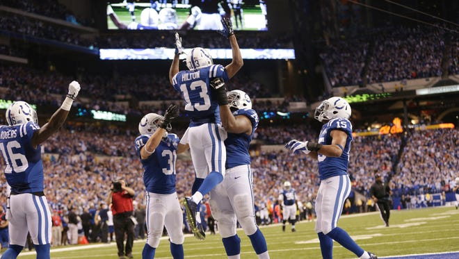Indianapolis Colts T.Y. Hilton celebrates his game-winning touchdown