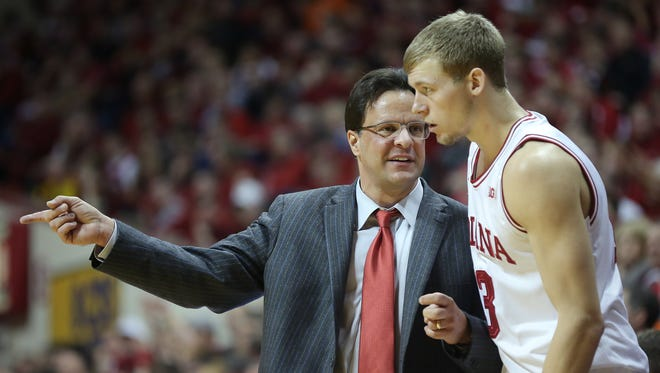 Indiana head coach Tom Crean, left, talks to Austin Etherington January 2, 2014, afternoon at Assembly Hall in Bloomington.
