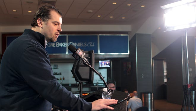 FILE - Ryan Grigson, General Manager of the Indianapolis Colts, talks with media at the NFL Scouting Combine, Lucas Oil Stadium, February 21, 2014.