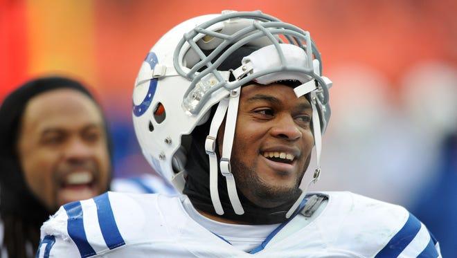 Indianapolis Colts inside linebacker Jerrell Freeman celebrates on the sideline against the Kansas City Chiefs during the second half, Sunday, December 22, 2013, at Arrowhead Stadium.
