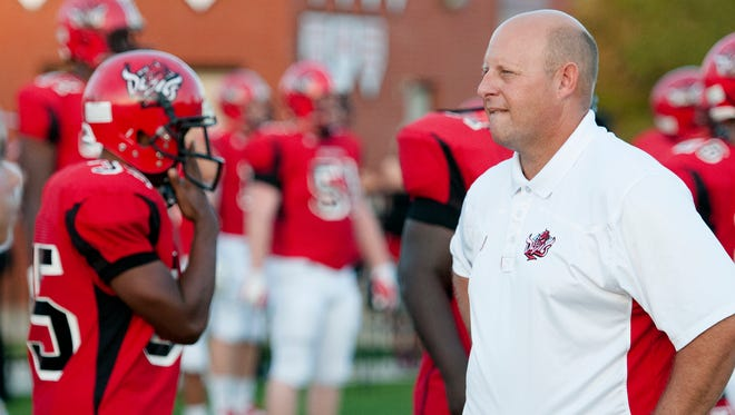 Central's head coach Jamey DuBose looks on during the game between Central Phenix City and Lee on Thursday, Sept. 11, 2014 in Phenix City, Ala.