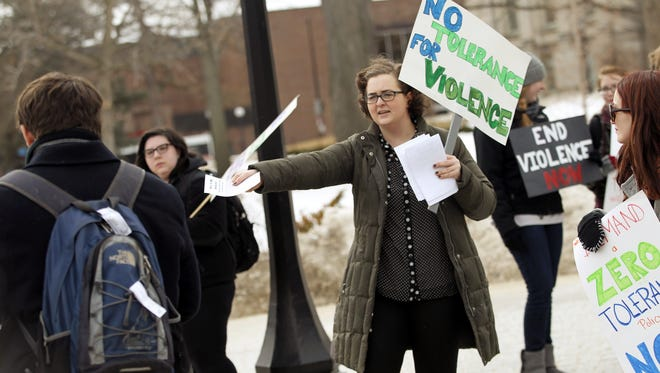 A violence awareness rally in February at the University of Iowa.