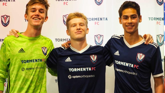 From left, Tormenta FC goalkeeper Stephen O'Hearn and midfielders Grant Hampton and Tristan DeLoach. All are Savannah natives who rose up through Tormenta FC Academy.