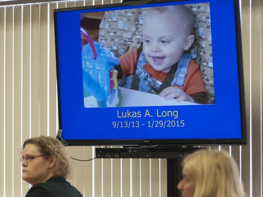 Elizabeth Long, left, was charged with second-degree murder and second-degree child abuse in 16-month-old Lukas' death.