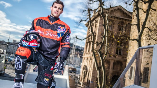 Former St. Cloud State student Cameron Naasz is the defending Ice Cross Downhill World Champion. He will again compete at this weekend's St. Paul stop on the Red Bull Crashed Ice Tour.
