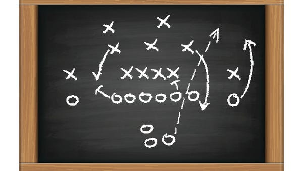 vector image of a football tactic on blackboard. Transparency effects used.