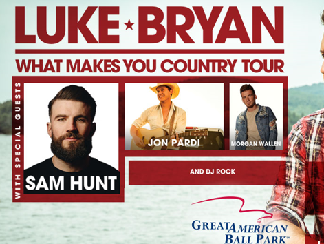 See Luke Bryan, Sam Hunt, Jon Pardi and Morgan Wallen at Great American Ballpark. Enter 5/17-6/6.