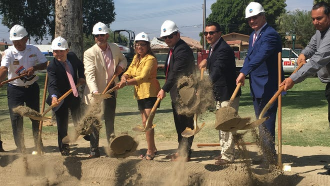 Coachella Mayor Steven Hernandez, Councilman Manny Perez, Mayor Pro Tem Emmanuel Martinez and Sen. Jeff Stone gathered in Veterans Park on Friday, June 10, 2016. The $4 million park will include monuments to every branch of the military and honor tiles for those who died in the line of duty,