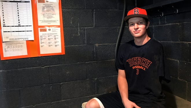 Beech junior Jay Fleming, who lost his left arm in a 2007 boating accident, is a reserve first baseman for the Buccaneers' varsity squad.