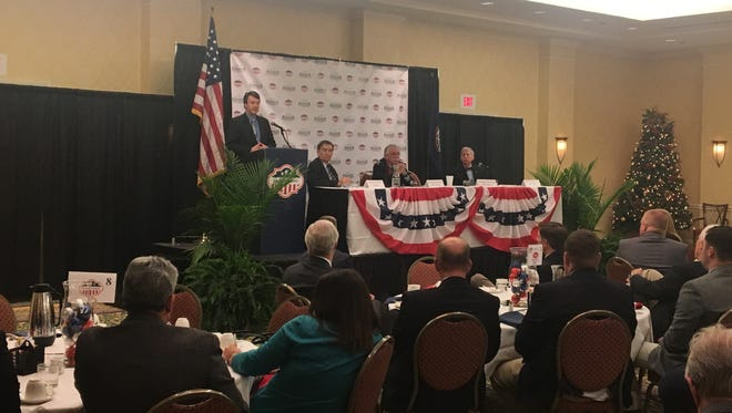Del. Ben Cline, R-Rockbridge, talks about the upcoming 2018 legislative session at the Greater Augusta Regional Chamber of Commerce's breakfast event on Wednesday in Staunton.