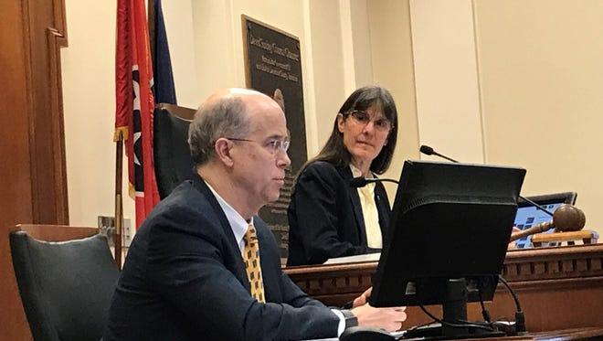 Council member Burkley Allen, right, the new chair of the special committee investigating Nashville Mayor Megan Barry, and council attorney Mike Jameson.