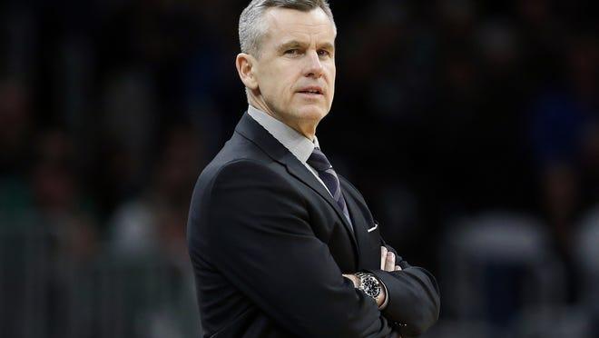 The Chicago Bulls hired former Oklahoma City coach Billy Donovan as coach on Tuesday.