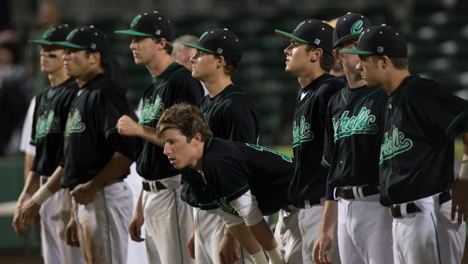 Pensacola Catholic Crusaders react at the end of the game Thursday (5/15/14) of the FHSAA region 4A championship game at Jet Blue Park in Fort Myers. The Crusaders lost 3-1 against Trinity Catholic.