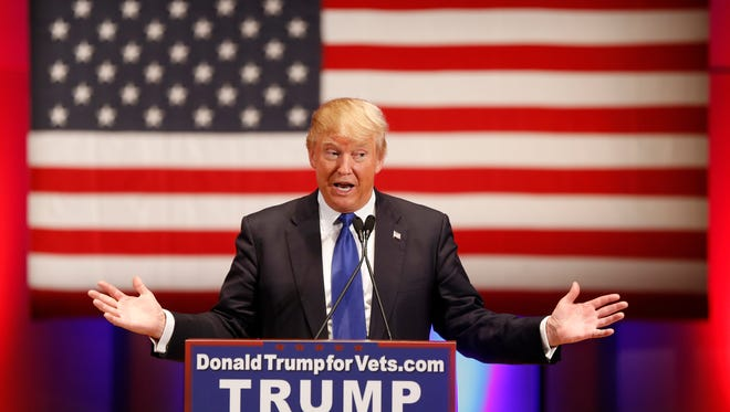 Republican presidential candidate Donald Trump speaks at a event at Drake Thursday, Jan. 28, 2016.