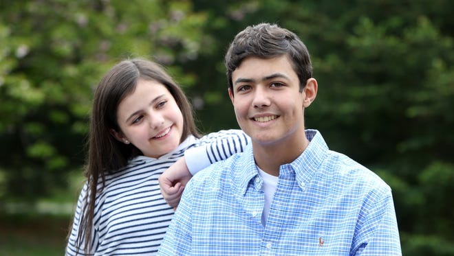 Brandon Johnson, a John Jay High School junior and member of the baseball team has been recovering from a fight with leukemia since last summer. He had a bone marrow transplant in August, donated by his younger sister Madelyn. Brandon, 17, and Madelyn, 11, at home May 11, 2017 in Hopewell Junction.