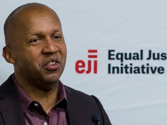 Equal Justice Initiative Executive Director Bryan Stevenson discusses the opening of the National Memorial for Peace and Justice in Montgomery, Ala. on Monday April 23, 2018.