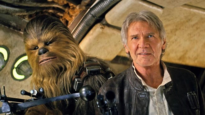 """Release your inner-Wookiee and channel some Han Solo during an outdoor screening of the smash-hit space oater """"Star Wars: The Force Awakens"""" at 7:30 p.m. Saturday under the stars (we hope) in Cascades Park. There will also be a costume contest, so feel free to dress up as your fave """"Star Wars"""" character. The movie is free and open to the public. It's rated PG-13."""