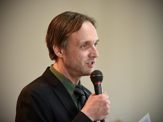 Jason Kirsch, Mette's husband, talks about his wife and the choir Friday, April 28, at the Trinity Lutheran Church in Sauk Rapids.