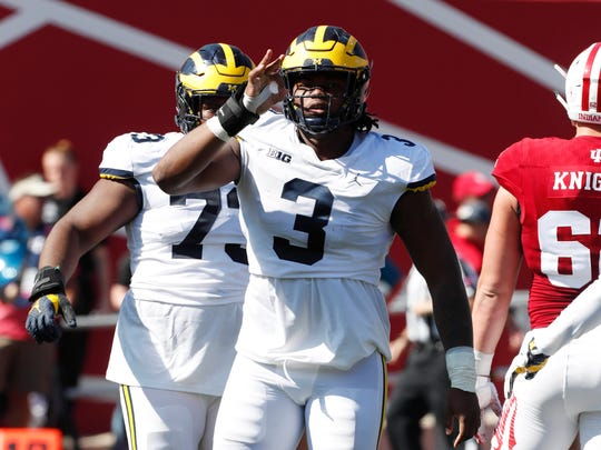 Oct 14, 2017; Bloomington, IN, USA; Rashan Gary reacts to Michigan sacking the Indiana quarterback at Memorial Stadium.