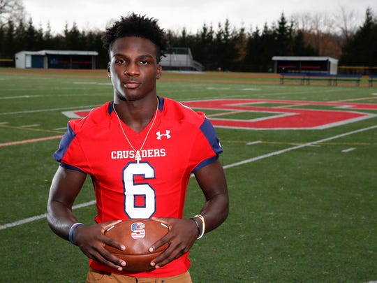 Stepinac's Trill Williams is named the 2017 Westchester/Putnam Football Player of the Year.  Williams was photographed at Archbishop Stepinac High School in White Plains on Tuesday, December 5, 2017.
