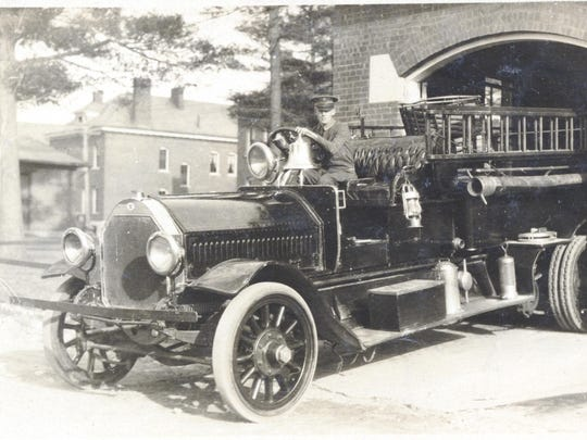 Fire engine pulling out of station at Fort Ethan Allen in the 1930s.