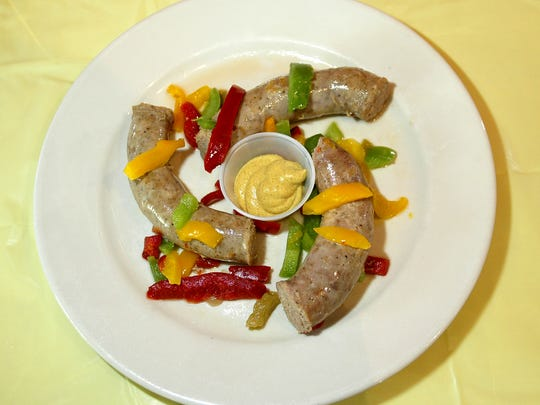 Fresh Kielbasa with Peppers & Onions. from A Touch of European Cafe.