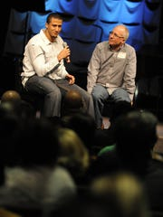 Colin Kaepernick, left, talks about faith and football during a question and answer session with Senior Pastor Steve Bond at the Summit Christian Church in Sparks in 2011.