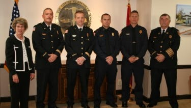 Mayor Kim McMillan and Fire Chief Mike Roberts observed the promotion of four Clarksville Fire Rescue officers on Thursday: Assistant Chief Steven Batten; District Chief Scott Owens; Capt. Jeremy Stewart; and Lt. Shawn Darnell.