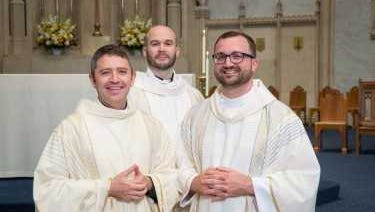 (Left to right) Jesuit priests Joseph Simmons, Stephen Wolfe and Brad Held are all Marquette University graduates. Simmons also graduated from Marquette University High School and taught there prior to joining the Jesuits. Held will work in Marquette High's campus ministry office in the fall.