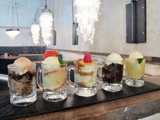 Desserts, served topped with ice cream in small glass