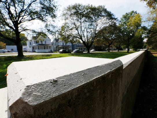 A section of flood wall protecting Conklin Avenue from