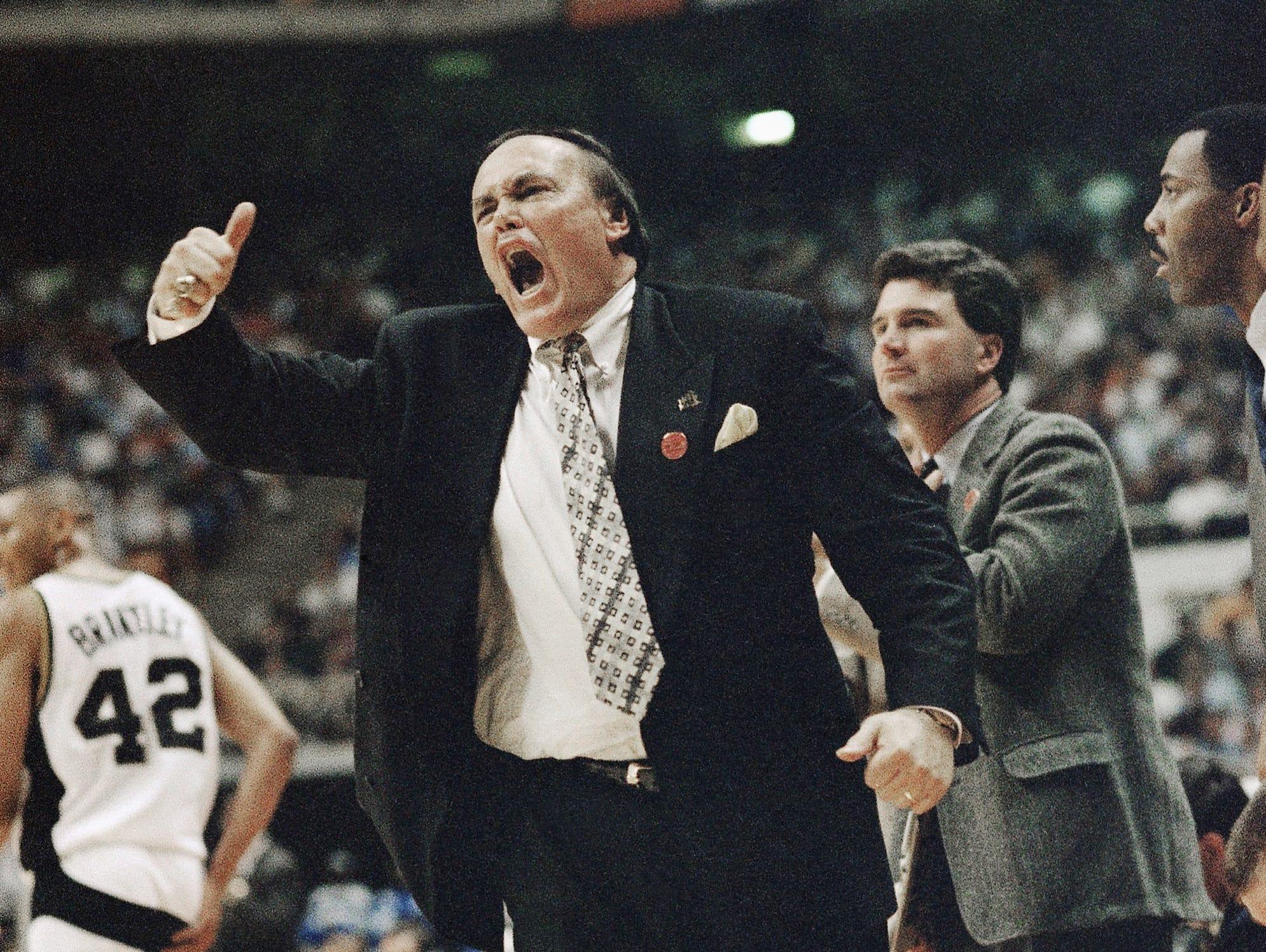 Purdue coach Gene Keady shouts from the bench during NCAA Southeast Regional semi-final game against Kansas, on Thursday, March 24, 1994, in Knoxville, Tenn. Purdue defeated Kansas 83-78. (AP Photo/Bob Jordan)
