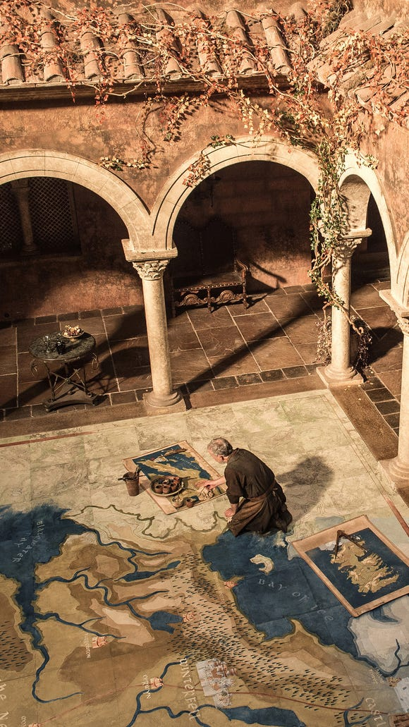 A map of the very large 'Westeros' is painted in the Red Keep in King's Landing in 'Game of Thrones.'