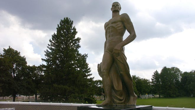 The new bronze Sparty statue mounted on campus at MSU Aug. 11, 2005.
