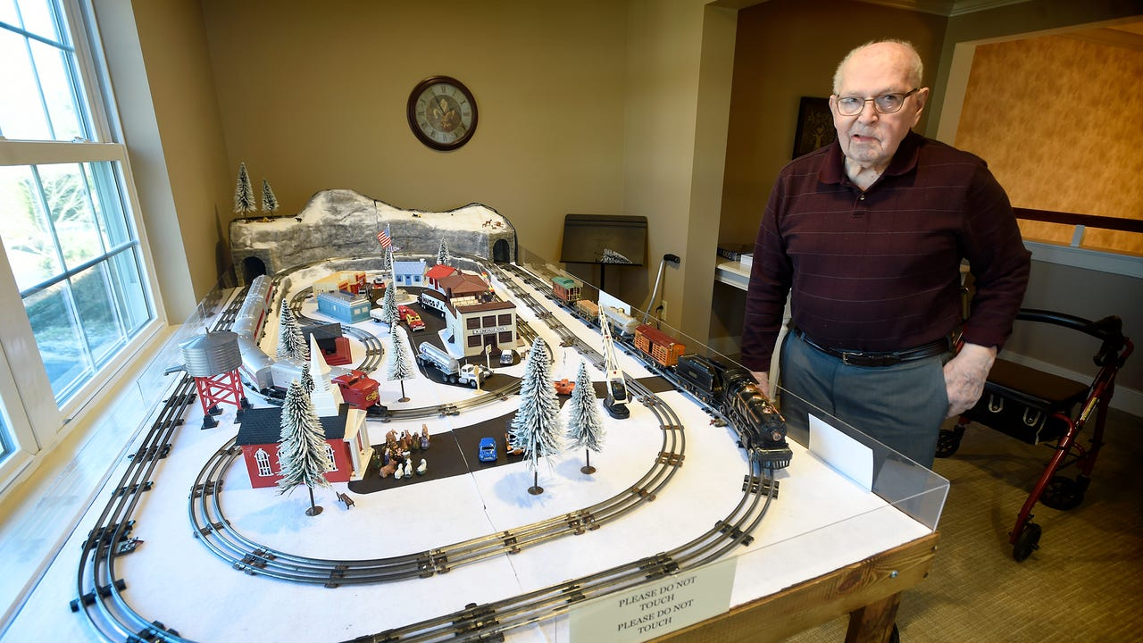 """Are you ever too old to play with trains, 88-year-old Kindred Place resident Harold Reist responds with a resounding, """"No!"""" Reist, a resident at Kindred Place at Annville wanted to do something for the residents. A 1936 Lionel engine pulls the train"""