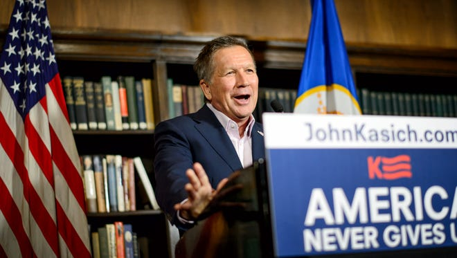 John Kasich speaks at a news conference at the Minneapolis Club on March 22, 2016.