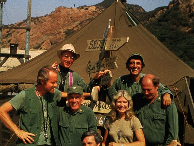 "1983: The ""M*A*S*H"" cast for the 11th and final season (1982-83) which ended with a 2-1/2 hour ""Goodbye, Farewell, and Amen"" special on Feb. 28, 1983. Seated in front: Alan Alda. Second row: (L-R) Mike Farrell, Harry Morgan, Loretta Swit, David Ogden Stiers. Back row: L-R William Christopher, Jamie Farr.  From the Enquirer archives scanned February 15, 2013A record number of Americans 30 years ago tuned in CBS on Feb. 28, 1983, to watch the final episode of ""M*A*S*H.""   The 105.97 million viewers still stands as a Nielsen ratings record for a TV series. They wanted to say so long to Hawkeye, Hot Lips and the gang at the 4077th Mobile Army Surgical Hospital.  So we're saluting the men and women of ""M*A*S*H"" who kept us in stitches for 11 seasons -- and every year since in reruns -- with this photo gallery from our favorite Korean War comedy.  At left is the cast for the 11th and final season (1982-83). It ended with a 2-1/2 hour special, ""Goodbye, Farewell, and Amen.""   1982-'83 cast: (seated in front) Alan Alda/Capt. Benjamin Franklin ""Hawkeye"" Pierce. Second row: (L-R) Mike Farrell/ Capt. B.J. Hunnicut , Harry Morgan/Col. Sherman Potter; Loretta Swit/ Maj. Margaret ""Hot Lips"" Houlihan; David Ogden Stiers/Maj. Charles Emerson Winchester. Back row: L-R William Christopher/ Father Francis Mulcahy; Jamie Farr/ Cpl. Max Klinger."