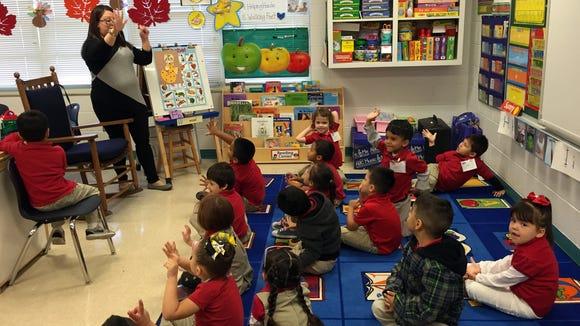 Myrtle Cooper Elementary School prekindergarten students count to ten.