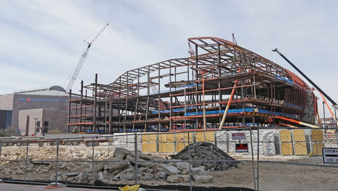 The BMO Harris Bradley Center (left) sits next to the future arena.