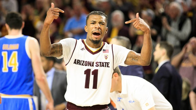 Arizona State Sun Devils  guard Shannon Evans II (11) reacts during the second half against the UCLA Bruins at Wells-Fargo Arena. The Sun Devils won 88-79.
