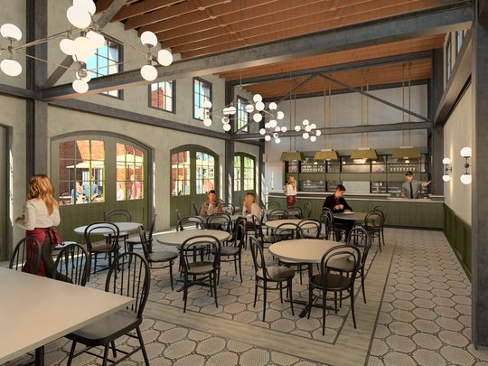 A rendering of the Courtyard Cafe that will be a part of the Frist Learning Center in the former stable and garage at Cheekwood. The garden is closing its white tablecloth restaurant, the Pineapple Room, because repairs to the building are costly.