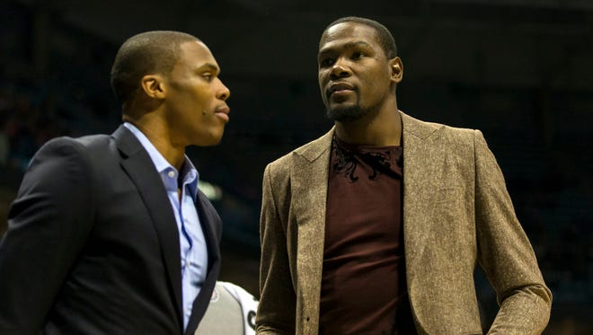 Thunder stars Kevin Durant , right, and Russell Westbrook have missed most of the season so far.