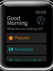 A sample home screen, wishing you 'Good Morning' and