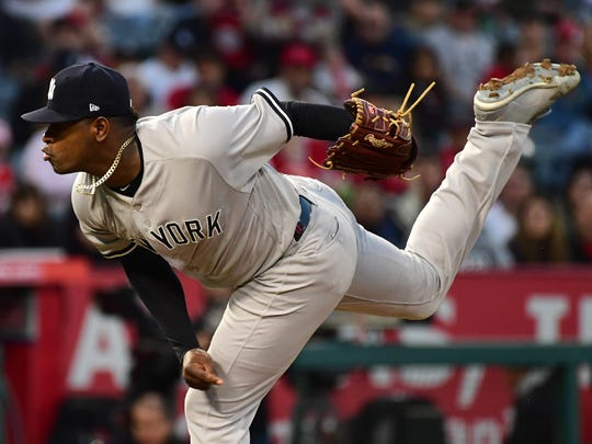Apr 27, 2018; Anaheim, CA, USA; New York Yankees starting pitcher Luis Severino (40) pitches in the first inning of the game against the Los Angeles Angels at Angel Stadium of Anaheim.
