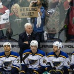 Apr 20, 2015; Saint Paul, MN, USA; St. Louis Blues head coach Ken Hitchcock looks on during the third period in game three of the first round of the 2015 Stanley Cup Playoffs against the Minnesota Wild at Xcel Energy Center. The Wild defeated the Blues 3-0. Mandatory Credit: Brace Hemmelgarn-USA TODAY Sports