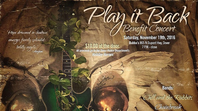 """The """"Play It Back"""" fundraiser event poster designed by Larry Knox of Prestwick House Publishing in Smyrna highlights the iconic green guitar that was stolen and later returned to Dave Nickolson."""