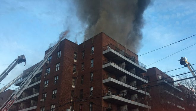 Yonkers contractor Declan McElhatton has been charged with setting this Queens building on fire on April 11, 2017.
