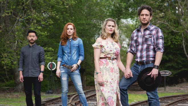 """Daniel K. Isaac (left to right), Teal Wicks, Jane Bruce and Eric William Morris star in """"The Ballad of Little Jo"""" at Red Bank's Two River Theater."""