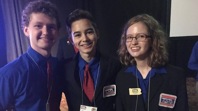 From left: Mark Weiss, Jamie Graham and Daphne Weiss placed in the top ten the Chapter Team Written category at the national TSA conference in Orlando, Florida in late June.