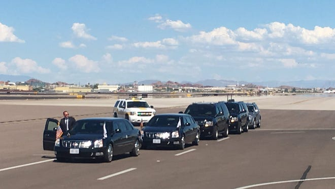 The presidential motorcade awaits President Donald Trump at Phoenix Sky Harbor Airport on Aug. 22, 2017. He will host a rally in downtown Phoenix in the evening.